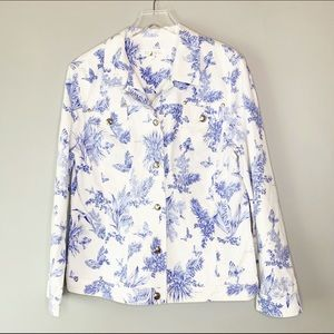Escada White Denim Jacket Cornflower Blue Print 42